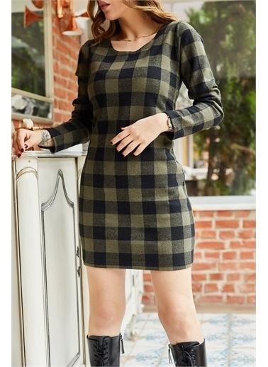 XHAN XHAN 9Kxk64302209 Pamuklu Ekoseli Kadın Elbise Haki